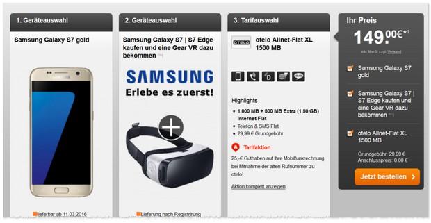 otelo Allnet-Flat XL als Samsung Galaxy S7 Vertrag