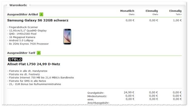 otelo L Handyvertrag mit Samsung Galaxy S6
