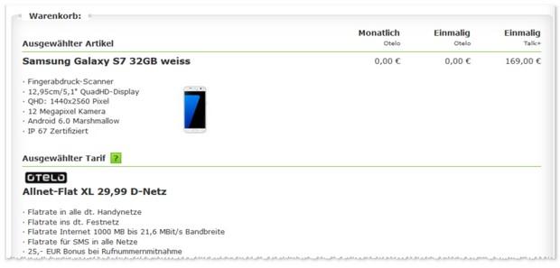 otelo XL + Samsung Galaxy S7