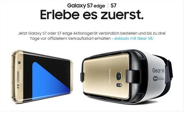 Samsung: Erlebe es zuerst Aktion mit gratis Virtual-Reality-Brille für Samsung Galaxy S7 (edge) Vorbesteller