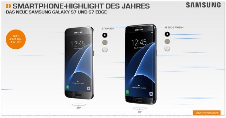 Samsung Galaxy S7 edge mit Vertrag
