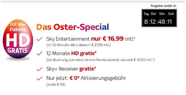 Sky Oster-Special mit HD gratis und ohne Aktivierungsgebühr (0,- €)