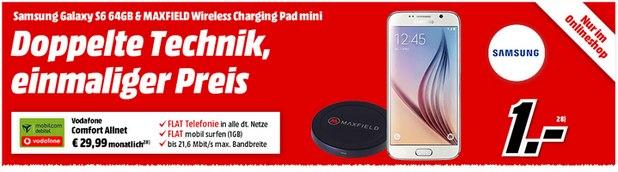 Vodafone comfort Allnet (1GB) + Samsung Galaxy S6 (64GB) für 1 € Zuzahlung bei Media Markt