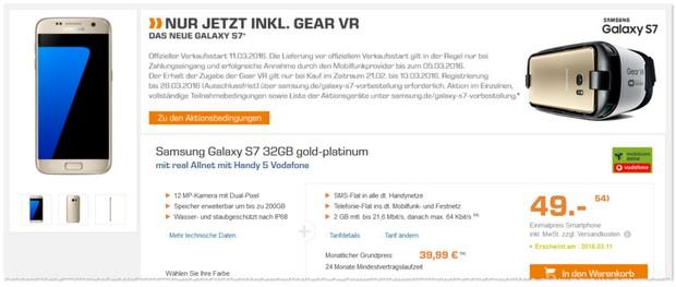 Samsung Galaxy S7 + Vodafone Real Allnet Tarif