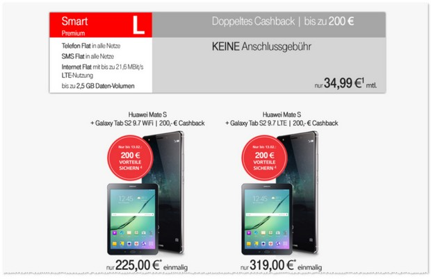 Vodafone Smart L Handyvertrag plus Cashback