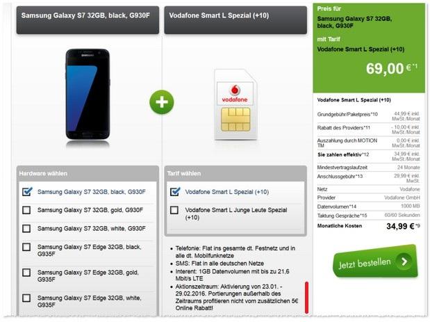 Vodafone Smart L als Samsung Galaxy S7 Vertrag