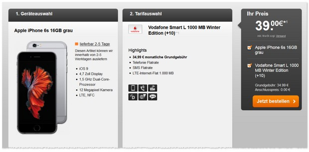 Vodafone Smart L als iPhone 6s Vertrag