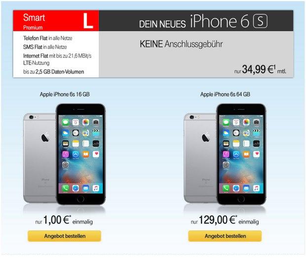 Vodafone Smart L + iPhone 6S für 34,99 € pro Monat bei 1 € Zuzahlung - oder mit 64 GB Speicher für 129 €
