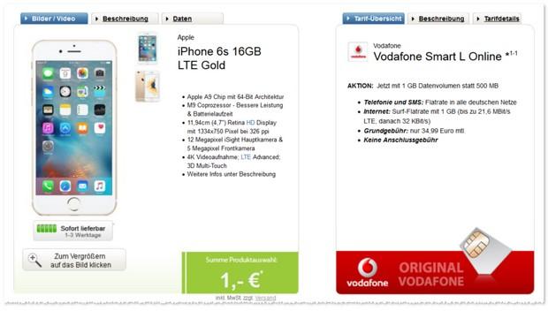 Vodafone Smart L iPhone 6s Handyvertrag