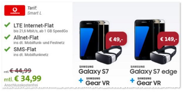 Vodafone Smart L für günstige 34,99 € im Monat mit Samsung Galaxy S7 / edge