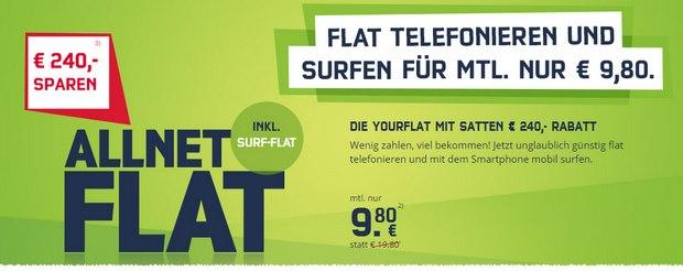 Yourflat (mobilcom-debitel) für 9,80 €