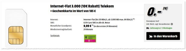 3GB D1 Internet-Flat 3.000 bei Media Markt