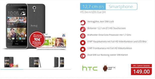 ALDI Nord Technik-Angebot am 28.4.2016: HTC Desire 620G für 149 €