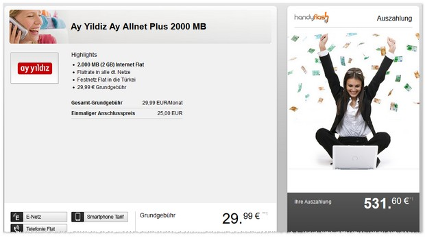 Ay Yildiz Ay Allnet-Flat Plus für effektiv 8,88 € im Monat