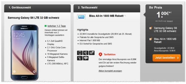 Blau Allnet-Flat (1,8GB) mit Handy ab 1 €