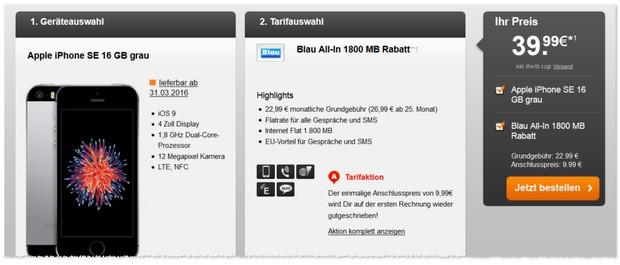 Blau Allnet-Flat und iPhone SE