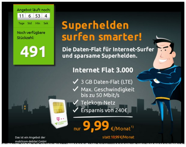 Crash-Tarife mit Internet-Flat