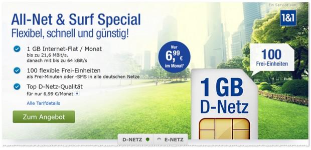 GMX Allnet & Surf Tarife ab 6,99 €