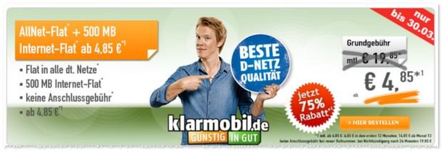 Klarmobil D1 Allnet-Flat ab 4,85 €