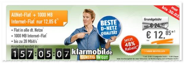 Klarmobil D1 Allnet-Flat mit 1.000 MB Internet-Flat