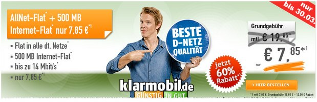 Klarmobil D1 Allnet-Flatrate für 7,85 €