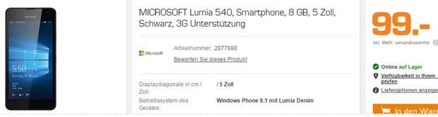 Das Lumia 540 ist bei Saturn für 99 Euro im Angebot - es geht aber noch günstiger