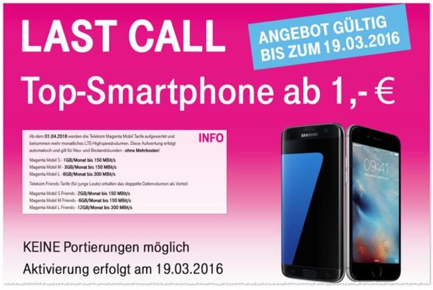 Magenta Mobil S als Samsung Galaxy S7 oder iPhone 6s Vertrag