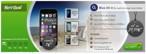 o2 Blue All In L + iPhone 6 für 1 Euro Zuzahlung