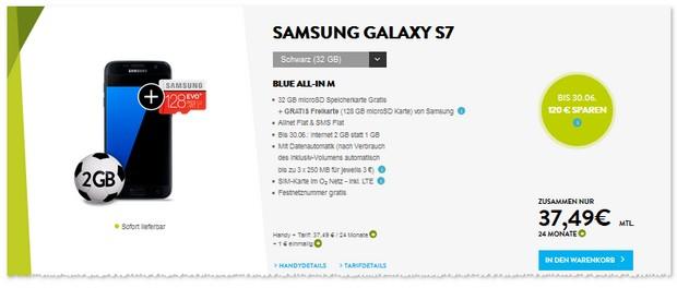o2 Blue All-in M (2GB) Handyvertrag mit Samsung Galaxy S7 oder S7 Edge für 1 € Zuzahlung.