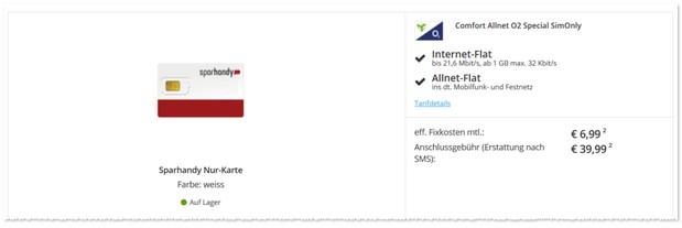 o2 Comfort Allnet-Flat Angebot bei Sparhandy