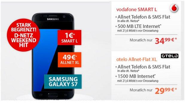 Otelo Allnet-Flat XL + Samsung Galaxy S7 für 29,99 € im Monat mit 49 € Zuzahlung