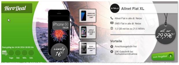 otelo Allnet-Flat XL + iPhone SE für 1 Euro