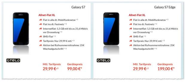 Otelo XL als Samsung Galaxy S7 Vertrag