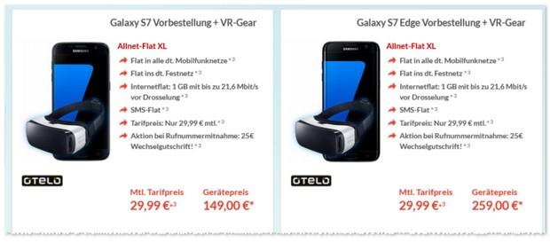 otelo XL mit Samsung Galaxy S7 und gratis VR Brille
