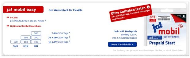 REWE ja! mobil easy Prepaid-Tarif