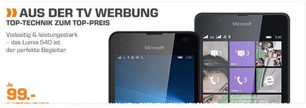 Saturn-Angebot aus der Werbung: Lumia 540 für 99 Euro