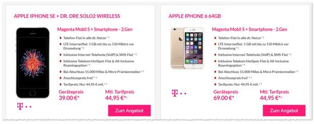 Telekom Magenta Mobil S Verträge für 44,95 € pro Monat