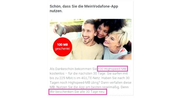 Vodafone 100 MB gratis