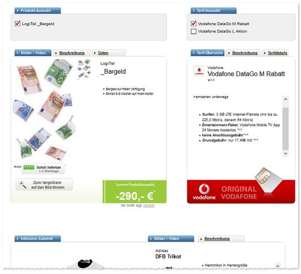 Vodafone Data Go M (3GB LTE Internet-Flat) mit Auszahlung und Trikot