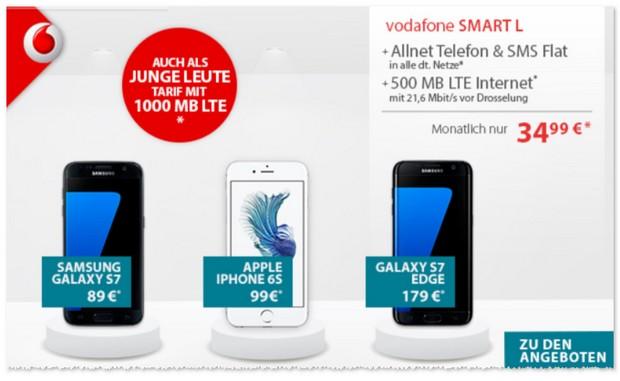 Vodafone Smart L als Samsung Galaxy S7 Edge Tarif