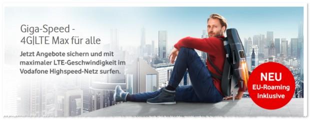 Vodafone Werbung mit Gigabit Zeitalter