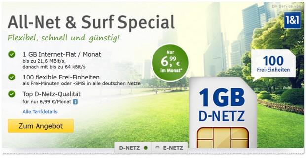 WEB.DE Allnet & Surf Special Tarif ab 6,99 €