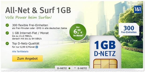 WEB.DE Allnet & Surf im D2-Netz