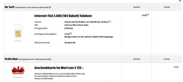 3GB D1 Internet-Flat 3.000 von mobilcom debitel mit Media Markt 155 € Gutscheinkarte