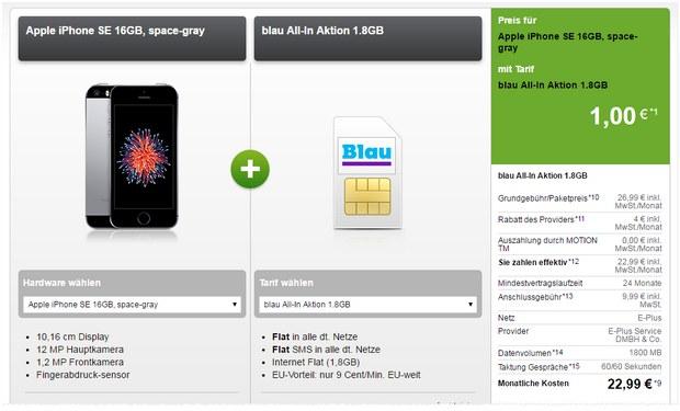 Blau Allnet-Flat mit iPhone SE für 1 € Zuzahlung bei Modeo
