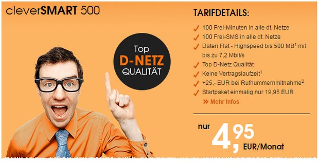 callmobile clever SMART 500 Handytarif im D2-Netz für 4,95 €