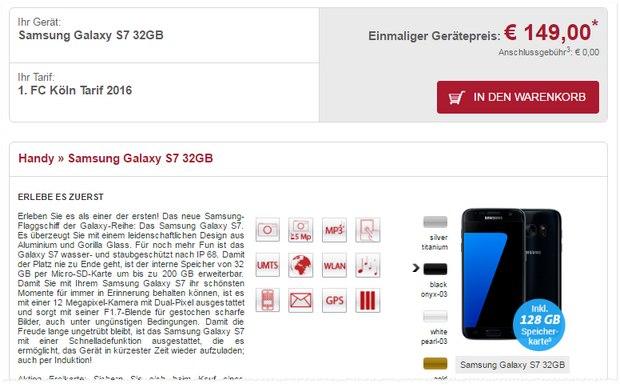 1.FC Köln Tarif mit Samsung Galaxy S7 für 149 € Zuzahlung bei sparhandy