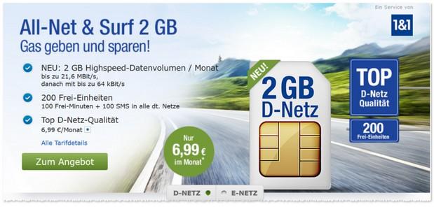GMX Allnet Surf für 6,99 Euro