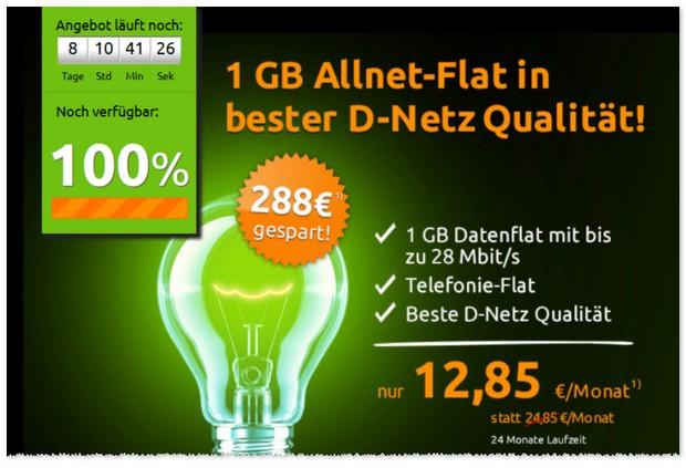 Klarmobil D1 Allnet-Flat für 12,85 € mit 1 GB