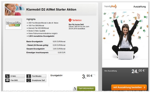 Klarmobil Allnet Starter im D2-Netz effektiv unter 3 Euro